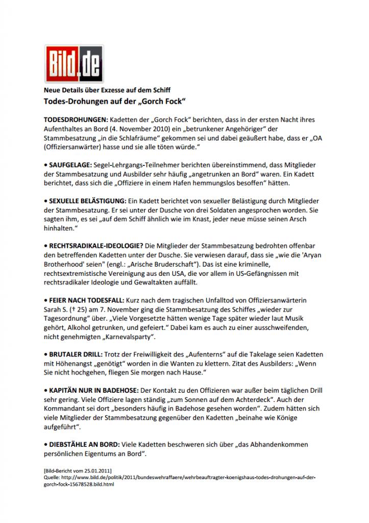 Bild-Artikel: Todesdrohungen auf der Gorch Fock